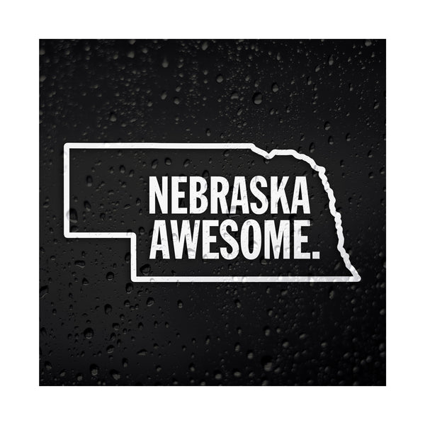 Nebraska Awesome White Vinyl Sticker