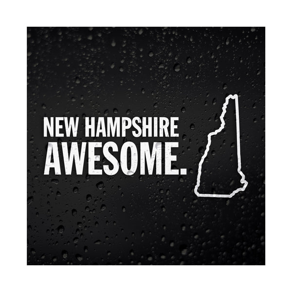 New Hampshire Awesome White Vinyl Sticker