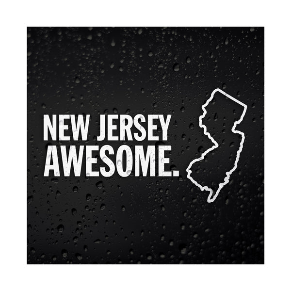 New Jersey Awesome White Vinyl Sticker
