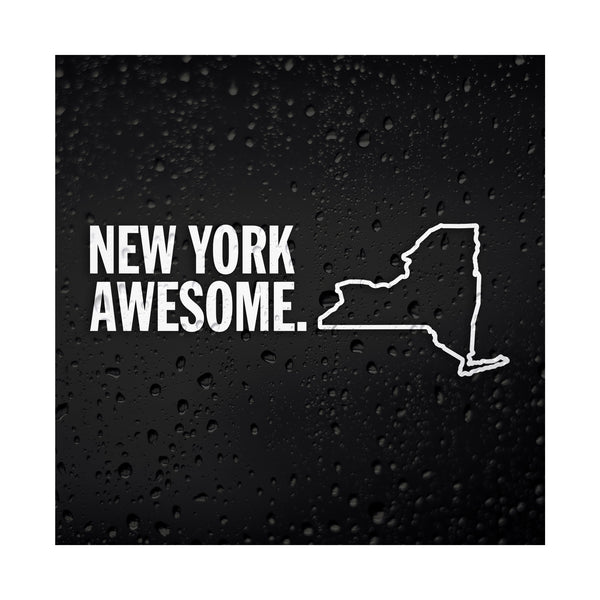 New York Awesome White Vinyl Sticker