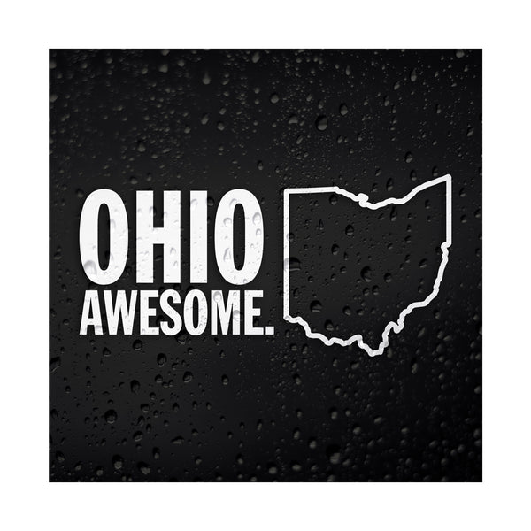 Ohio Awesome White Vinyl Sticker