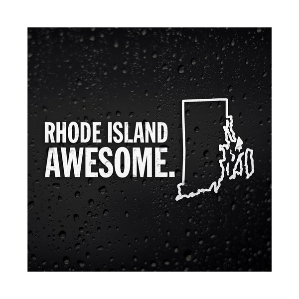 Rhode Island Awesome White Vinyl Sticker