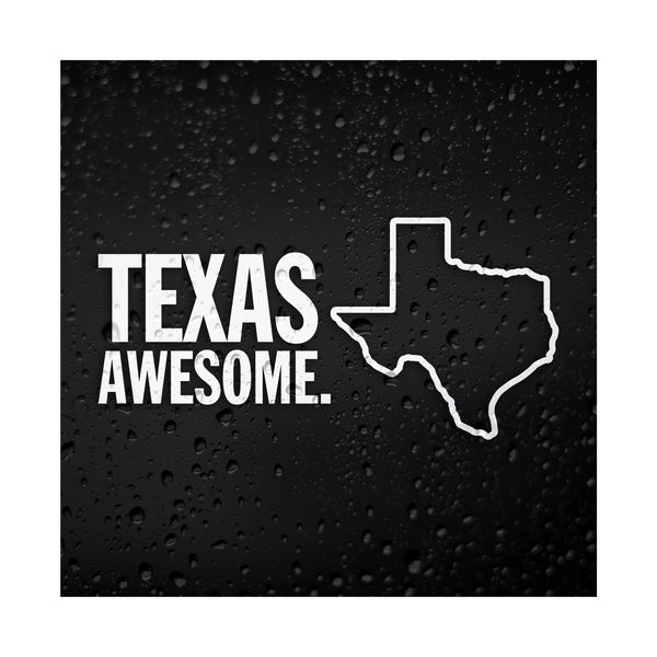 Texas Awesome White Vinyl Sticker