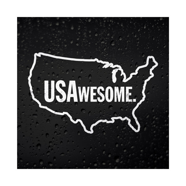 USAwesome White Vinyl Sticker