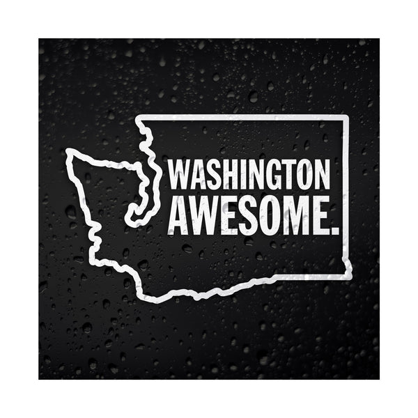 Washington Awesome White Vinyl Sticker