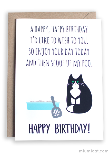 Tuxedo Cat Birthday Card