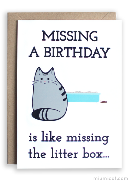 Funny Belated Birthday Cat Card