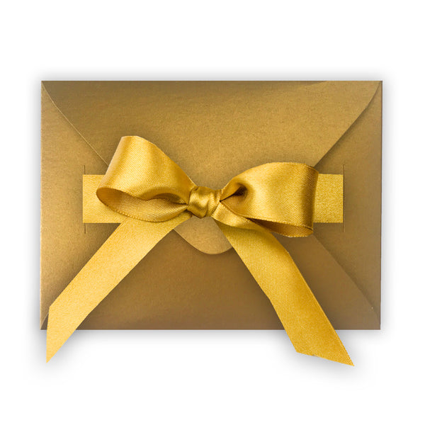 Metallic Gold Gift Envelope Box with Ribbon