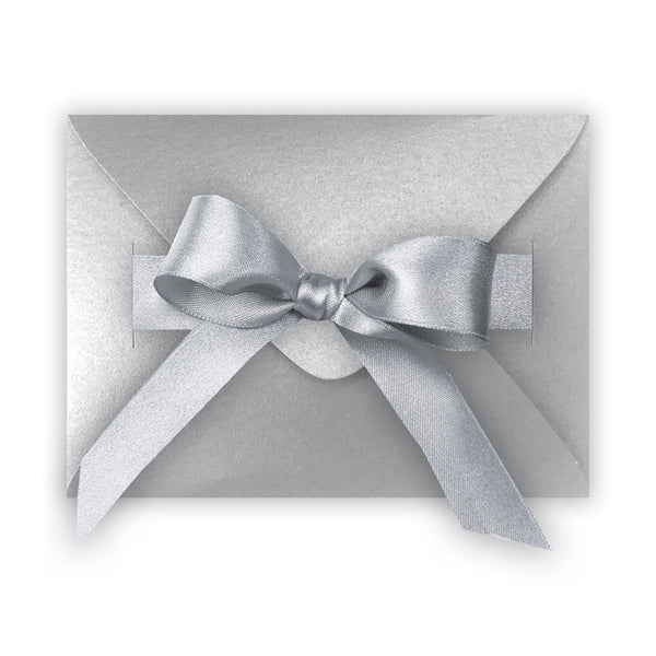 Metallic Silver Gift Envelope Box with Ribbon