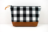 Large Zipper Pouch - White Black Buffalo Plaid