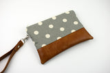 Convertible Wallet - Grey Polka Dot