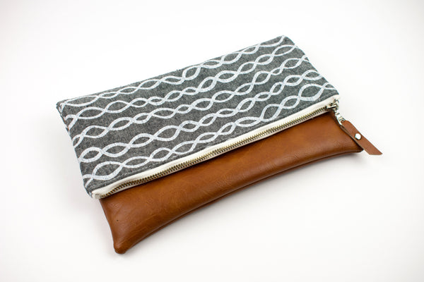 Fold Over Clutch - Gray White Geometric Stripe