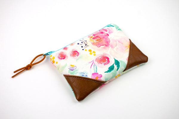 Coin Purse - Watercolor Floral