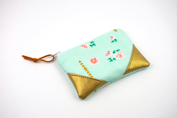 Coin Purse - Mint Metallic Floral