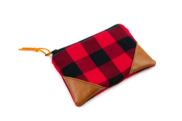 Coin Purse - Red Buffalo Plaid