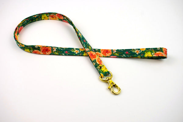 Lanyard ID Holder - Green Watercolor Floral