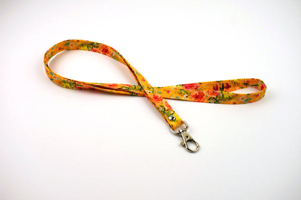 Lanyard ID Holder - Mustard Watercolor Floral