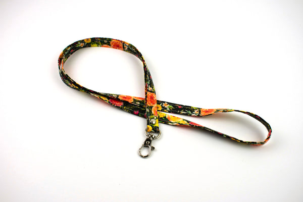 Lanyard ID Holder - Black Watercolor Floral