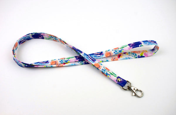 Lanyard ID Holder - Watercolor Floral Cool