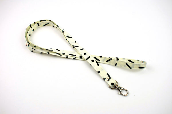 Lanyard ID Holder - White Black Modern