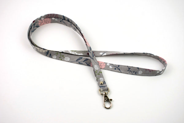 Lanyard ID Holder - Gray Boho Floral