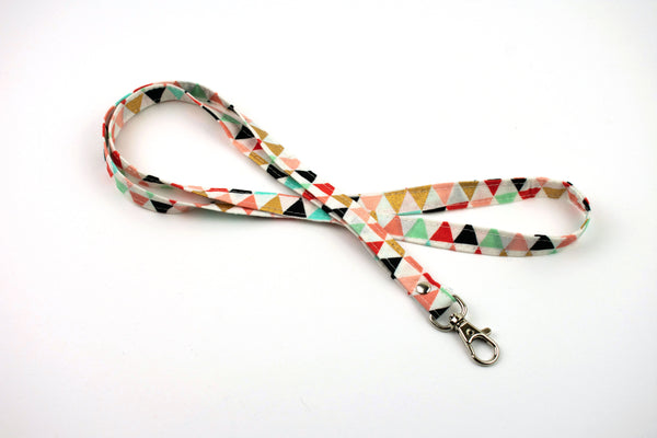 Lanyard ID Holder - Coral Black Triangles