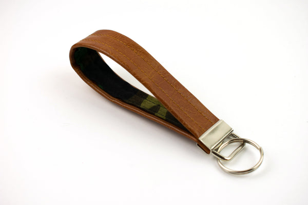 Faux Leather Keychain - Camo