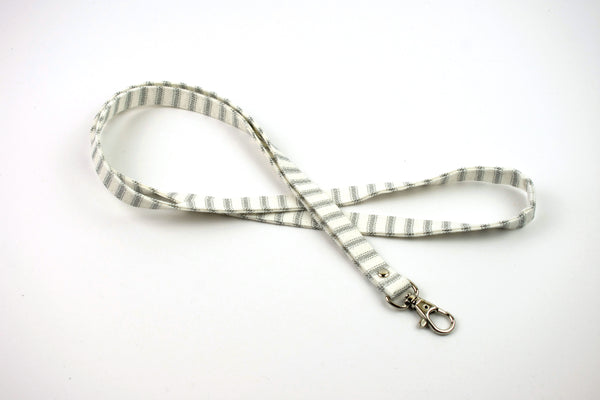 Lanyard ID Holder - Gray Ticking Stripe