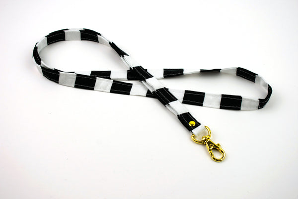 Lanyard ID Holder - Large Black White Stripe
