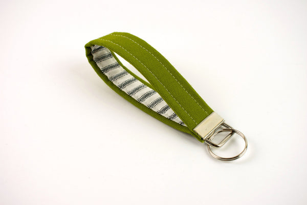 Key Fob - Olive Gray Ticking Stripe