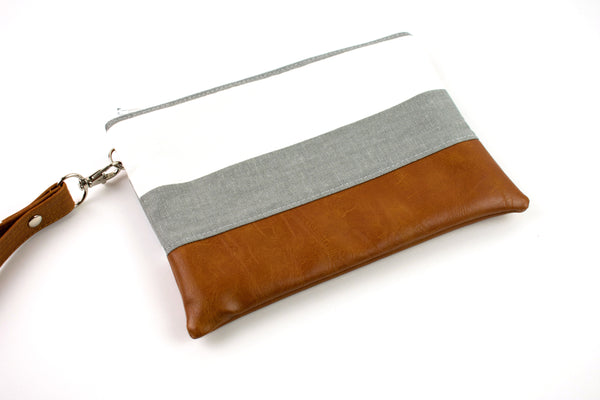 Convertible Wallet - Large Gray Stripe