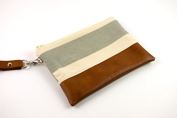 Convertible Wallet - Large Gray Cream Stripe