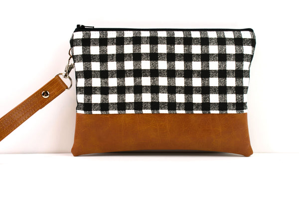 Convertible Wallet - Black White Gingham