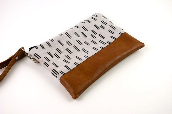 Convertible Wallet - Taupe Black Lines
