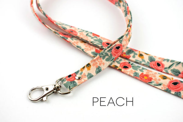 Lanyard ID Holder - Peach Floral