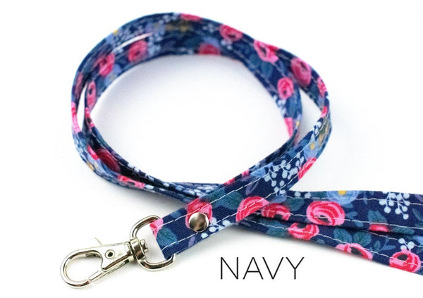 Lanyard ID Holder - Navy Floral