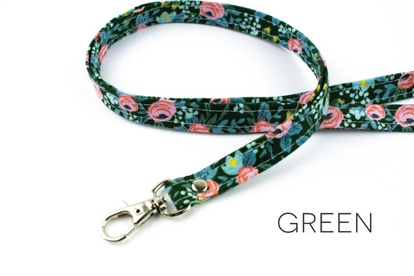 Lanyard ID Holder - Green Floral