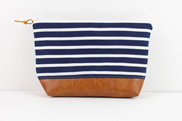 Large Zipper Pouch -Navy Stripe