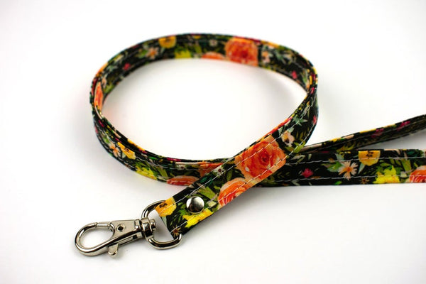 Lanyard ID Holder - Black Autumn Floral