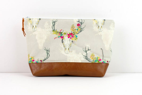 Large Zipper Pouch - Boho Skull