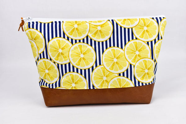 Large Zipper Pouch - Lemon Stripe