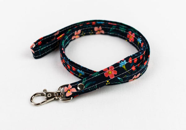 Lanyard ID Holder - Black Coral Floral