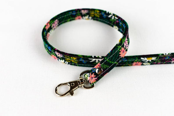 Lanyard ID Holder - Black Wildflower Floral