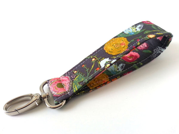 Swivel Key Fob - Gray Floral