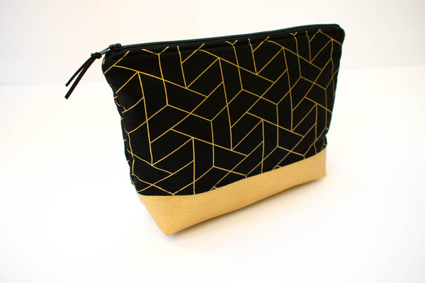 Large Zipper Pouch - Black Gold Metallic Geometric