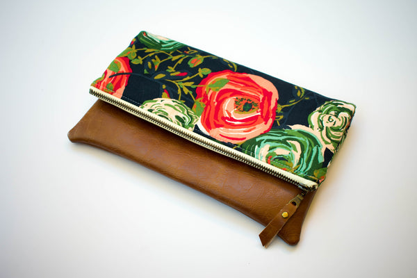 Fold Over Clutch - Autumn Floral