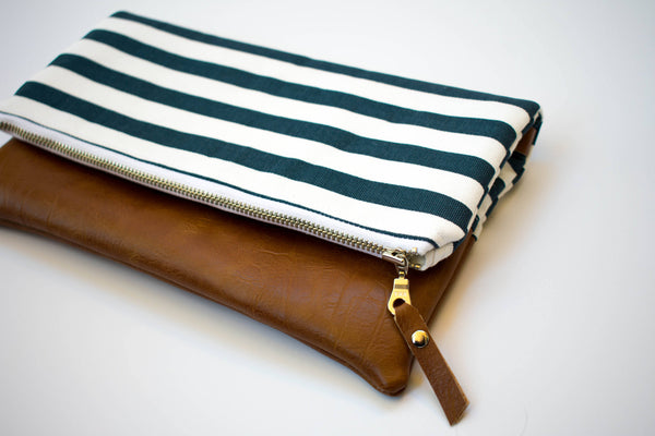 Fold Over Clutch - Navy Stripe