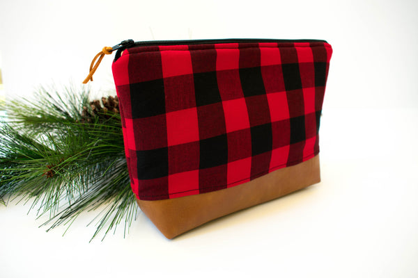 Large Zipper Pouch - Red Black Buffalo Plaid