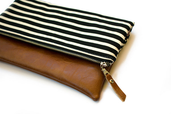 Fold Over Clutch - Black White Stripe
