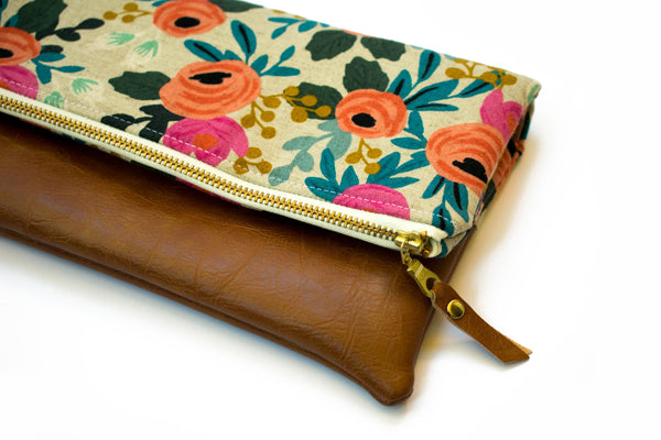 Fold Over Clutch - Natural Floral Canvas